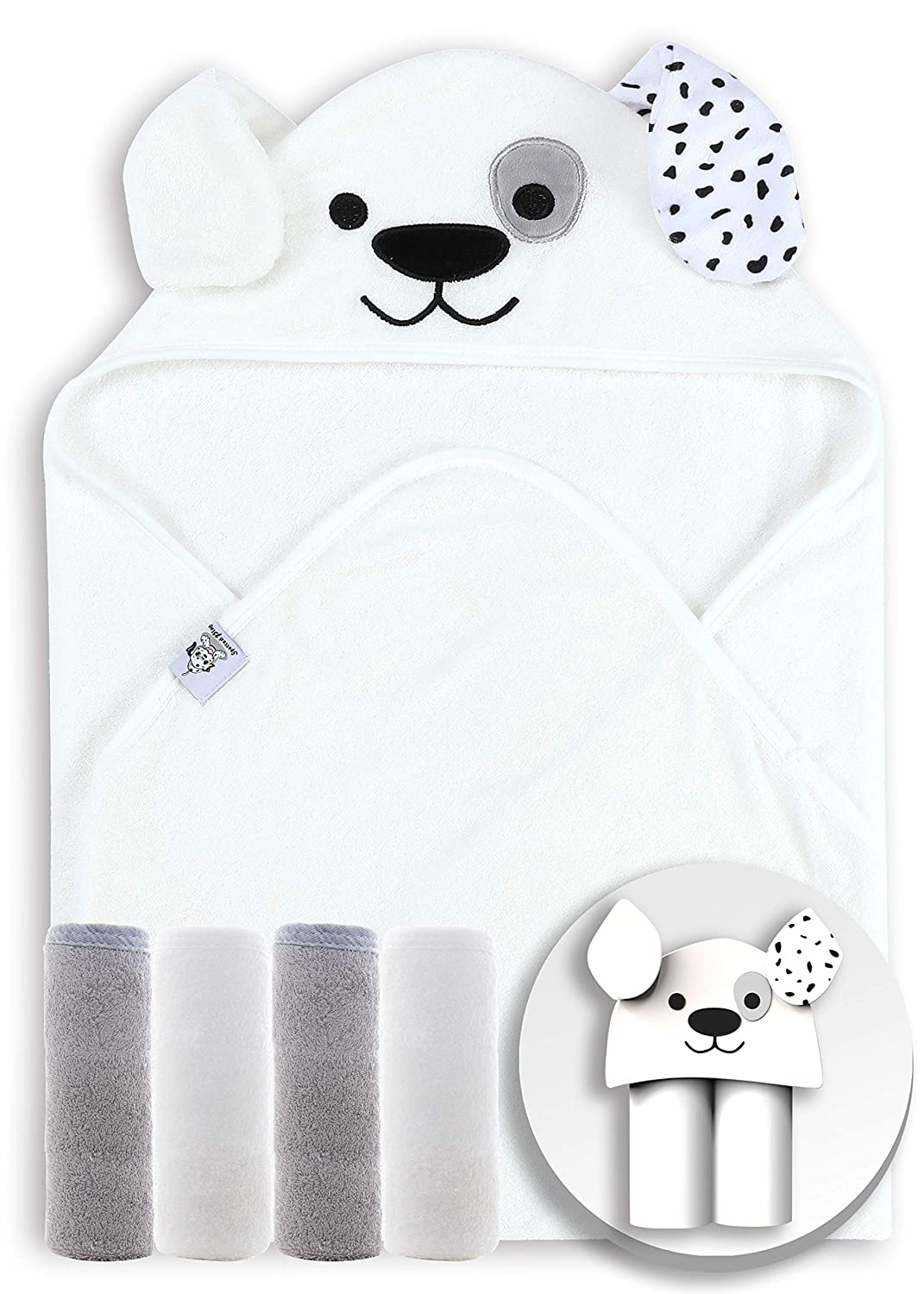 Spotted Play 5-Pieces Bamboo Baby Bath Towel and Washcloths Sets - 1 pc Towel and 4 pcs Washcloths - Bamboo Hooded Towel for Babies, Toddler,Infant - Absorbent and Hypoallergenic