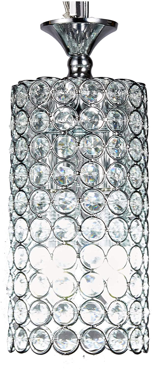 New Galaxy Lighting 1-Light Chrome Finish Round Metal Shade Crystal Chandelier Hanging Pendant Ceiling Lamp Fixture