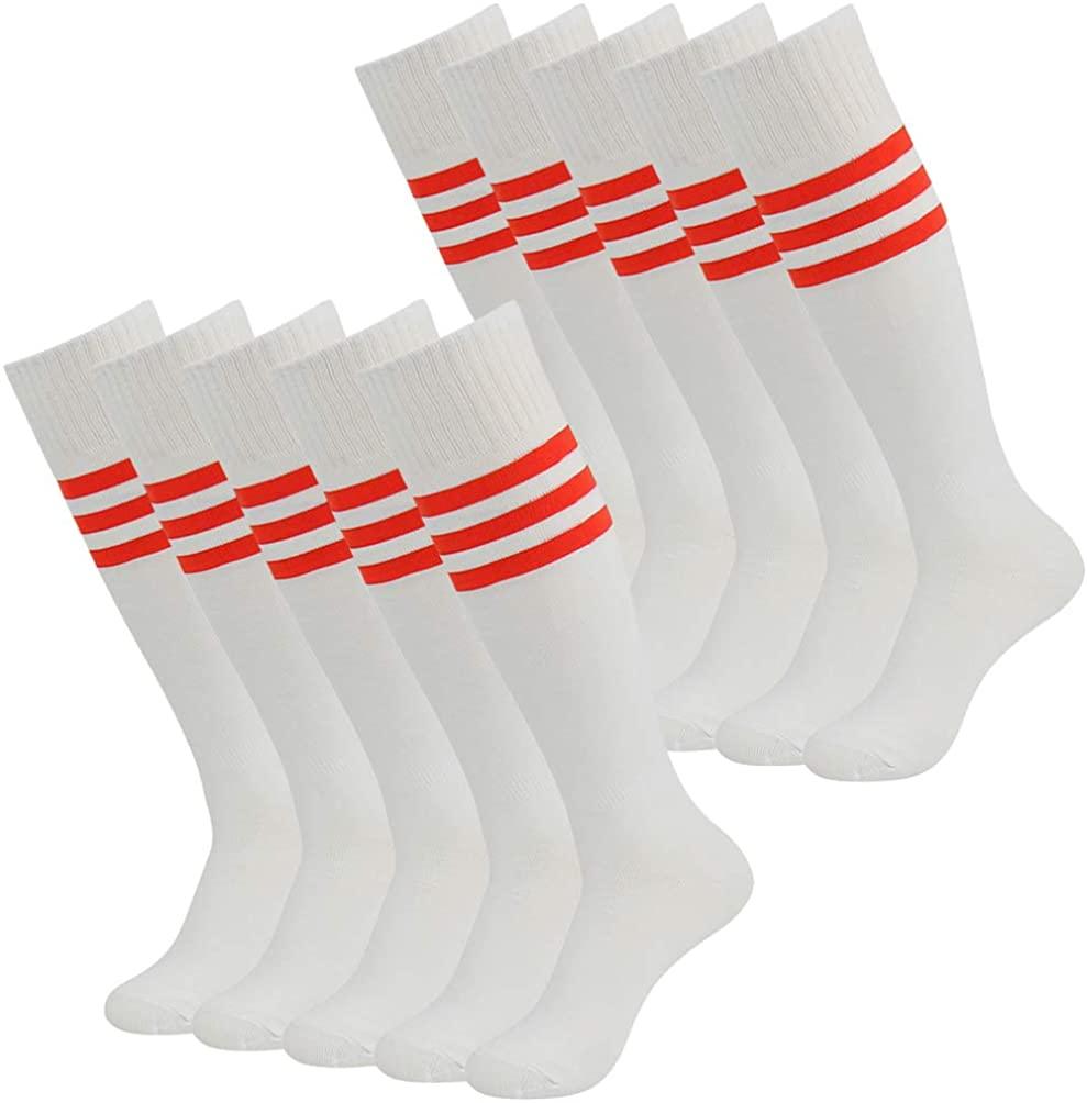 J'colour Soccer Socks, Unisex Knee High Striped Baseball football Sock 2/6/10 Packs