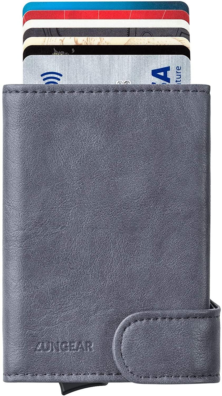 Pop Up Wallet RFID Blocking, Leather Credit Card Holder Slim ID Metal Card Case For Men