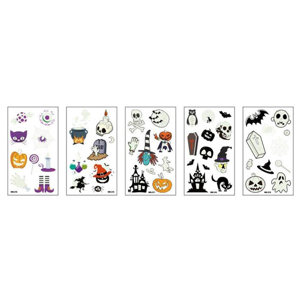 Garneck Halloween Luminous Temporary Tattoo for Kids Skin-friendly Cartoon Waterproof Tattoos, 5 Pcs