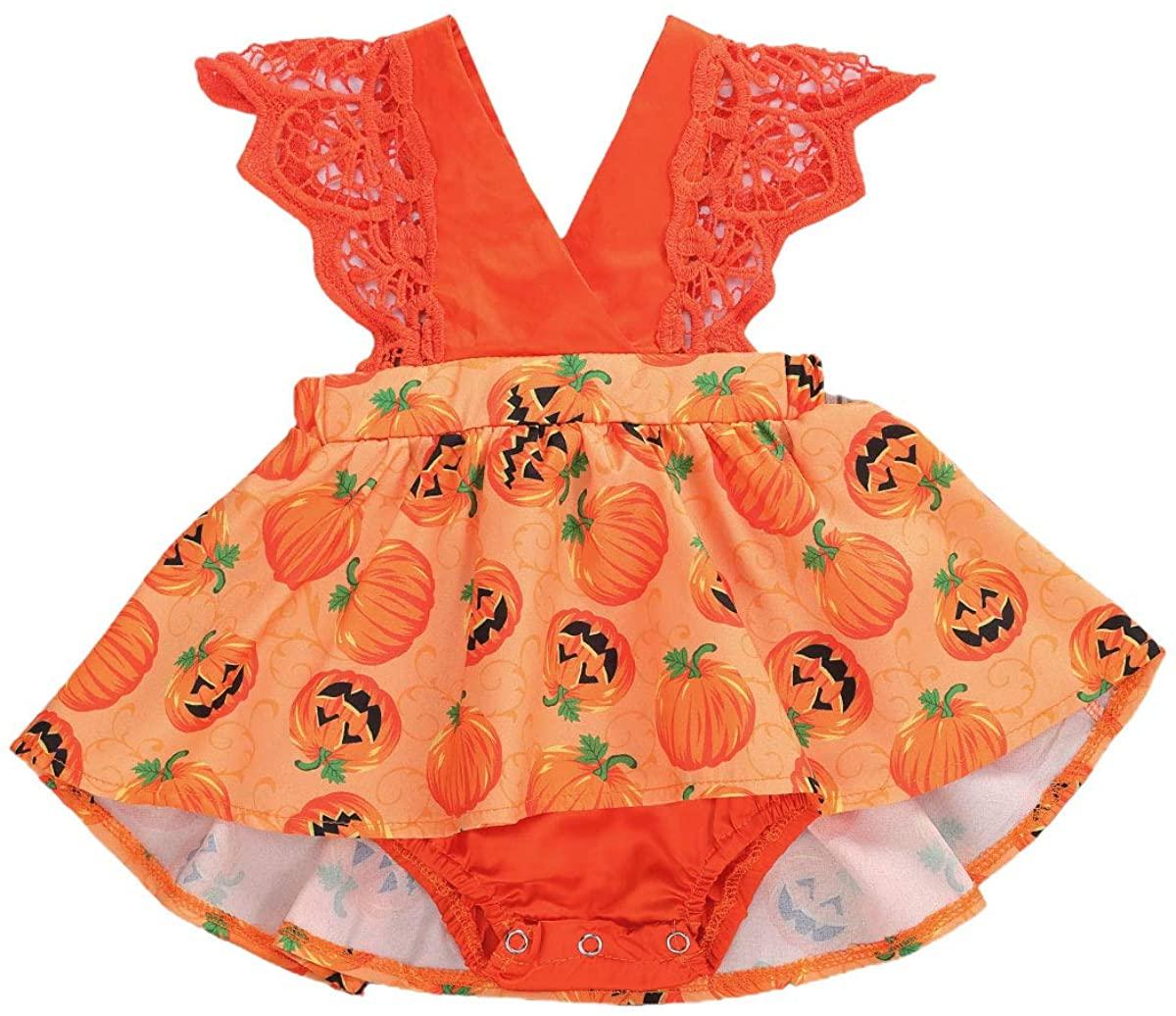 Toddler Baby Girls My First Halloween Clothes V-Neck Sleeveless Romper Top Pumpkin Floral Tutu Skirt 2Pcs Outfits Set