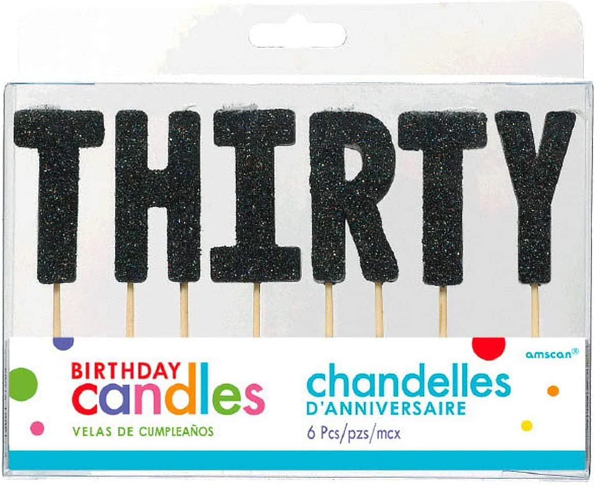 T-H-I-R-T-Y Black Glitter Birthday Candles | Party Supply | 36 Ct.