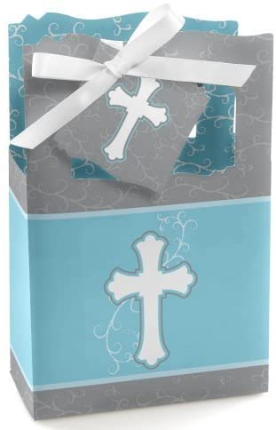 Little Miracle Boy Blue & Gray Cross - Baptism or Baby Shower Favor Boxes - Set of 12