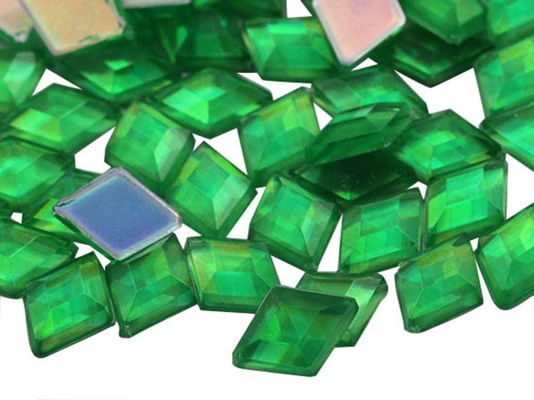 Allstarco 10x7mm Green Peridot AB Flat Back Diamond Acrylic Rhinestones Plastic Gems for Jewelry Making Costume Jewels Cosplay Embelishments - 100 Pieces
