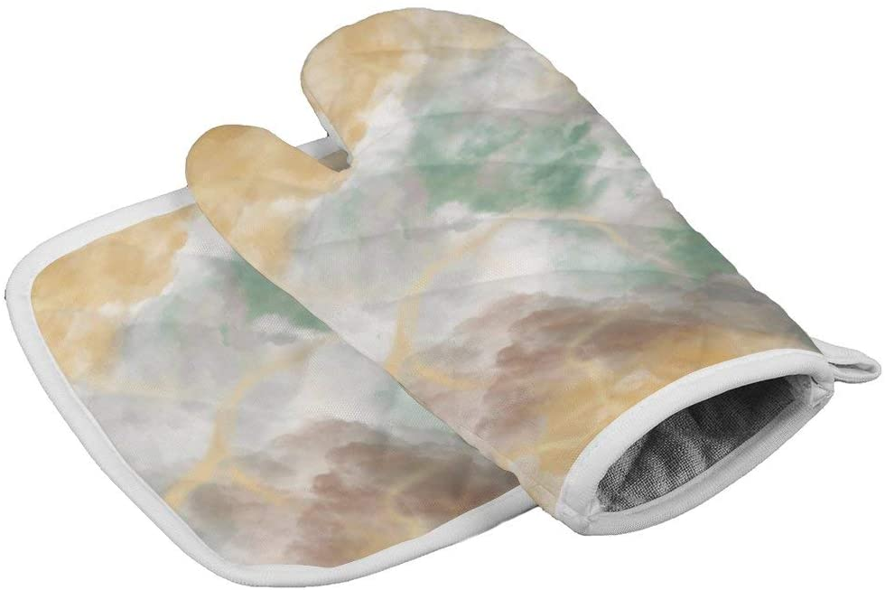 Polyester Oven Mitt and Potholder Set with Hanging Loop Non-Slip Heat Resistant Kitchen Accessories Ideal for Handling Hot Kitchenware-Colorful Marble Pattern