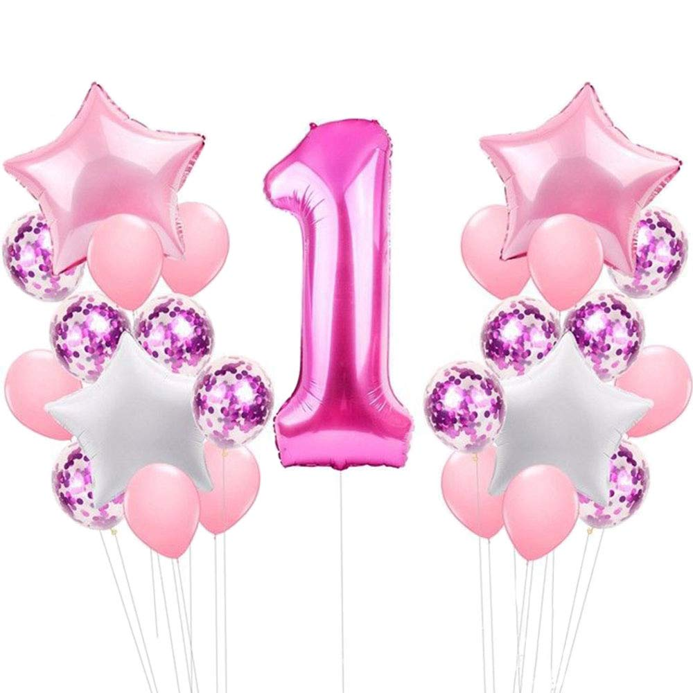 Onwon 1st Birthday Girl Balloons Set Bonus Perfect for Your Daughter's First Birthday Party Number 1 Foil Balloon Pink Birthday Party Decorations Sweet Pink for Baby Girl