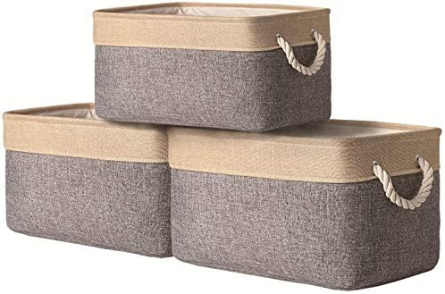 pulnimus Fabric Storage Baskets with Cotton Rope Handle, Shelf Baskets for Storage,Collapsible Baskets for Toy Storage,Clothes Storage-15.7(L) x11.8(W) x8.3(H) (Gold Gray)