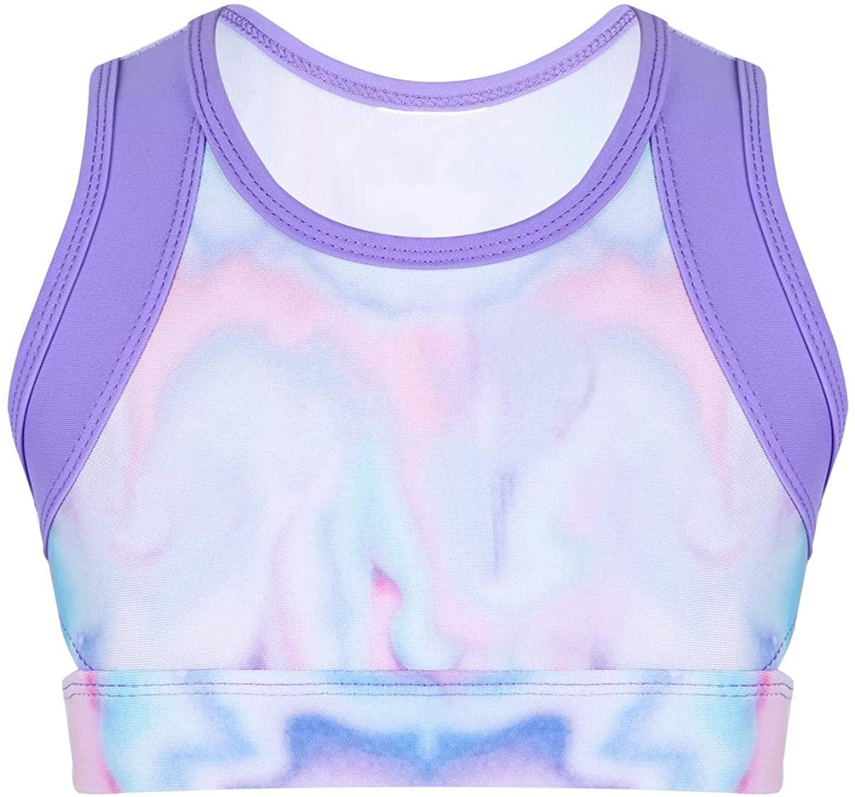 zdhoor Kids Girls Sports Bra Ballet Dance Workout Yoga Training Colorful Tanks Crop Top Gymnastics Sportswear