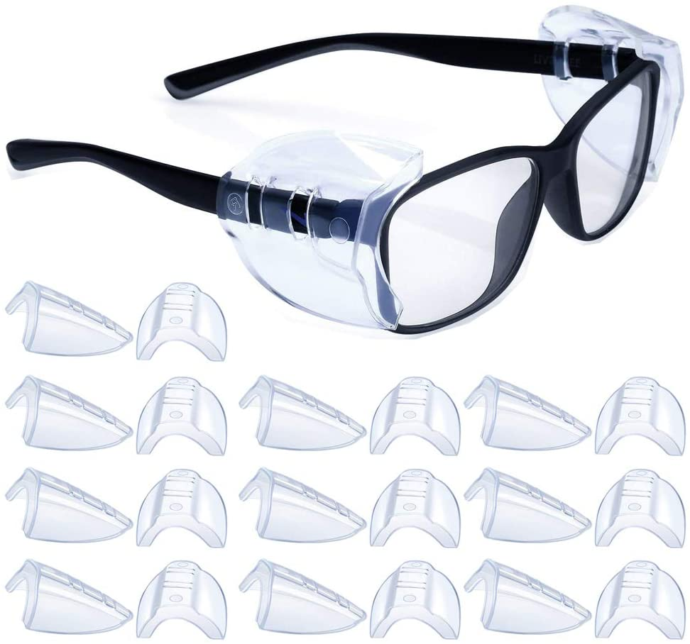 30 Pairs Safety Glasses Side Shields Large, Slip on Side Shields, Fits Small to Medium Eyeglasses Frames Clear