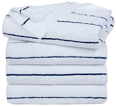 Ample Decor Extra Absorbent 100% Cotton Cabana Stripe Premium Quality Beach & Pool Towels, Super Soft Eco Friendly Extra Large Towels - Pack of 4, Navy (30 X 68 Inch)