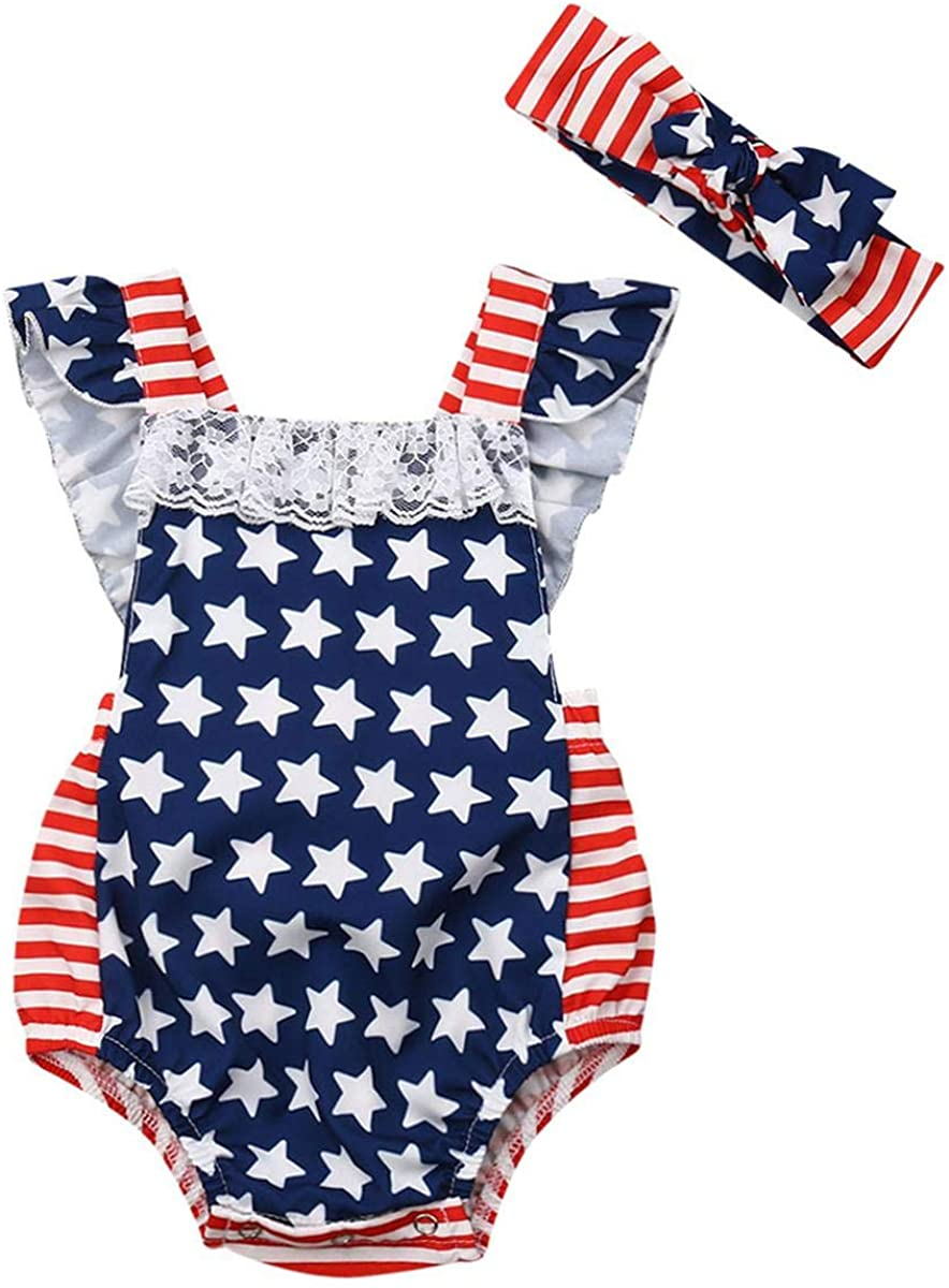 FYMNSI 4th of July Baby Girls Ruffled Romper American Flag Striped Stars Bodysuit Headband Independence Day Patriotic Outfit