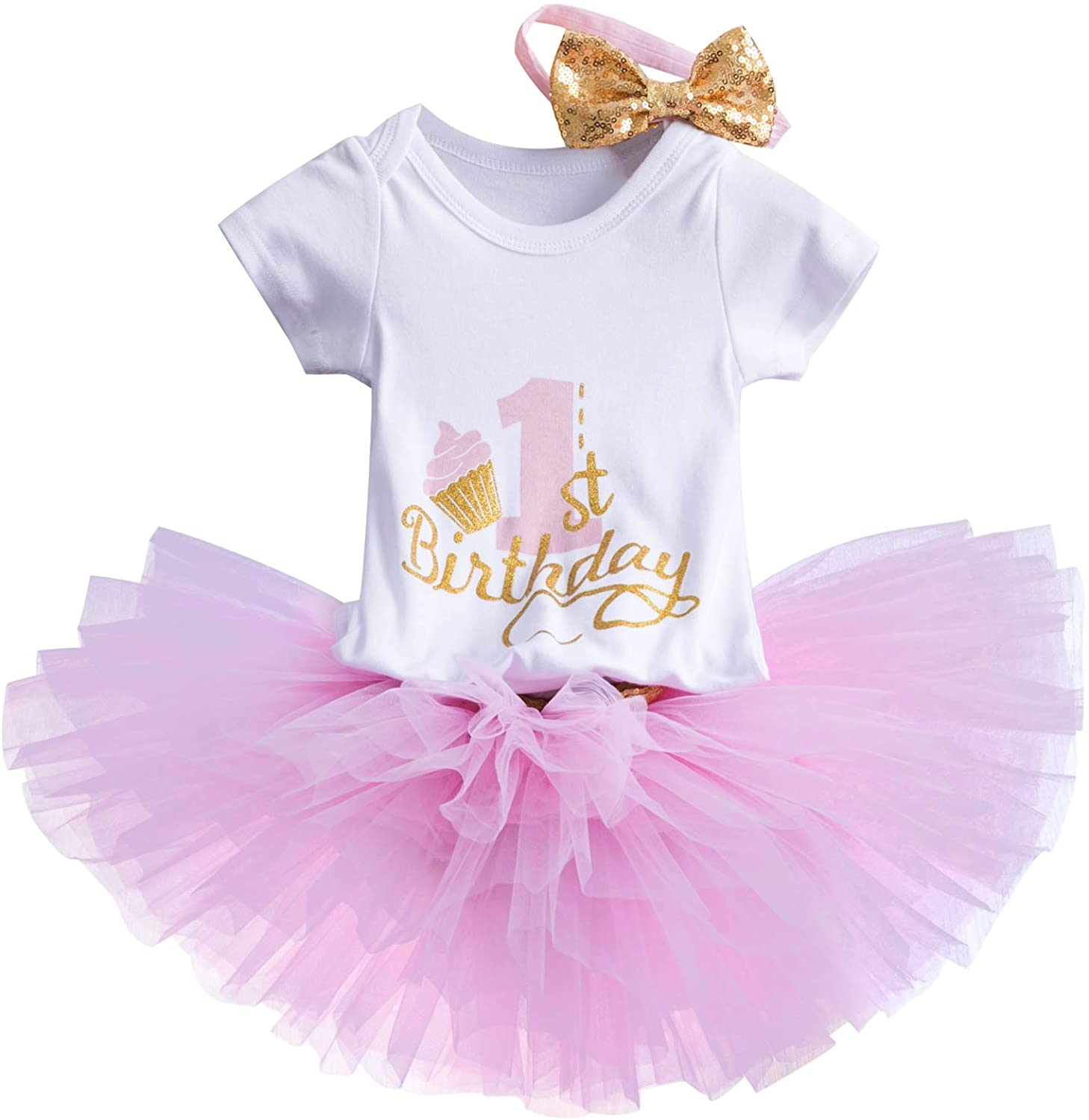 NNJXD Girl Newborn 1st Birthday 3 Pcs Outfits Romper+Tutu Dress+Headband (Pink# 1Years
