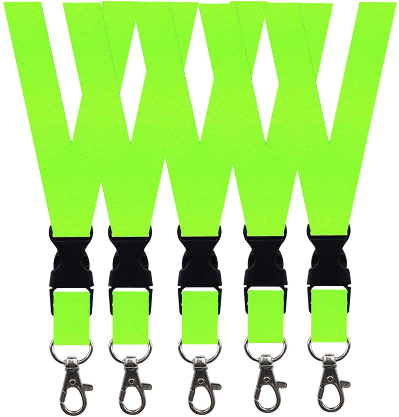 5 Pack Neck Safety Lanyards Detachable Buckle Enhanced Model Hook Breakaway Strap Quick Release Lanyard for ID Badge Holders,Key,Women Men Cell Phones USB Whistles - Green