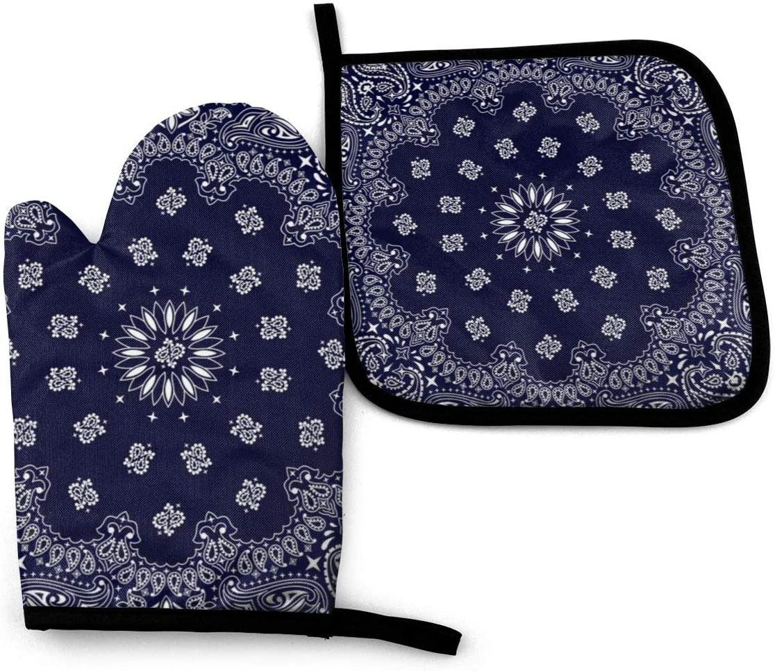 Luase Oven Mitts and Pot Holders Set,Bandana Navy Blue Southwestern Heat Resistant Non-Slip Cooking Mitt Microwave Gloves for Kitchen Baking Grilling BBQ Set of 2