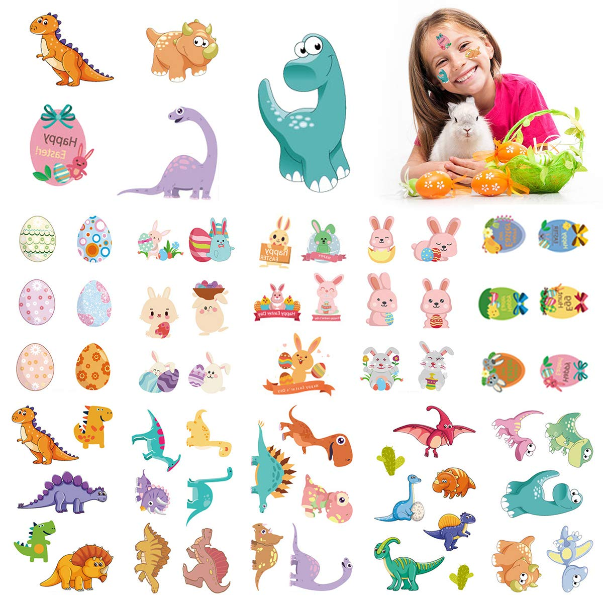 15 Sheets New Style Dinosaur Easter Tattoos Dinosaur Bunny Chicken Tattoos For Easter Egg Hunt, Bunny Egg Dinosaur Temporary Party Favors Gifts,Easter Party Favors For Kids