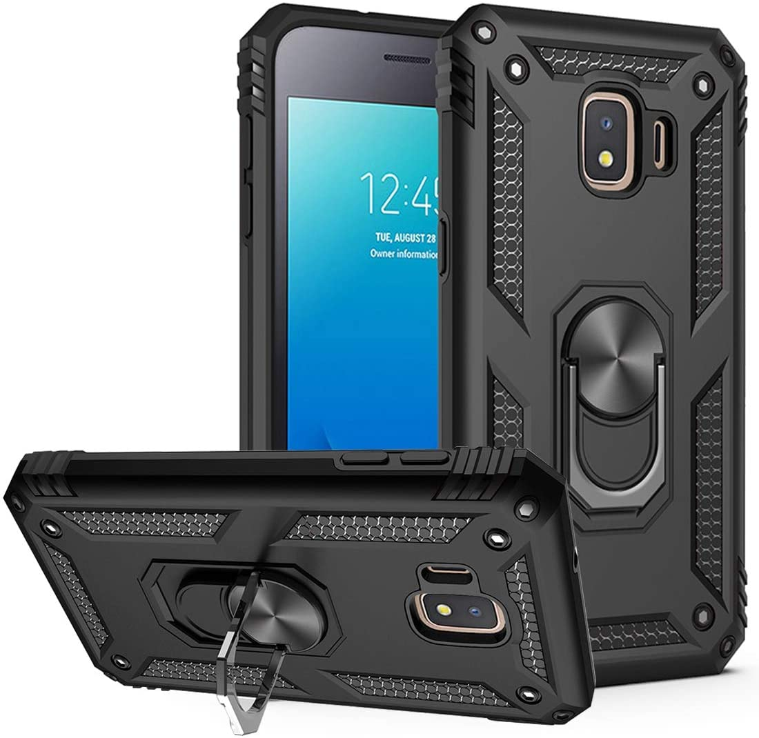 Yerebel Galaxy J2 Core/J2 2019/J2 Pure/J2 Dash/J2 Shine Case, [Military Grade] [Metal Ring][Magnetic Support] Defender Heavy Duty Armor Cover for Samsung Galaxy J2 (Black)