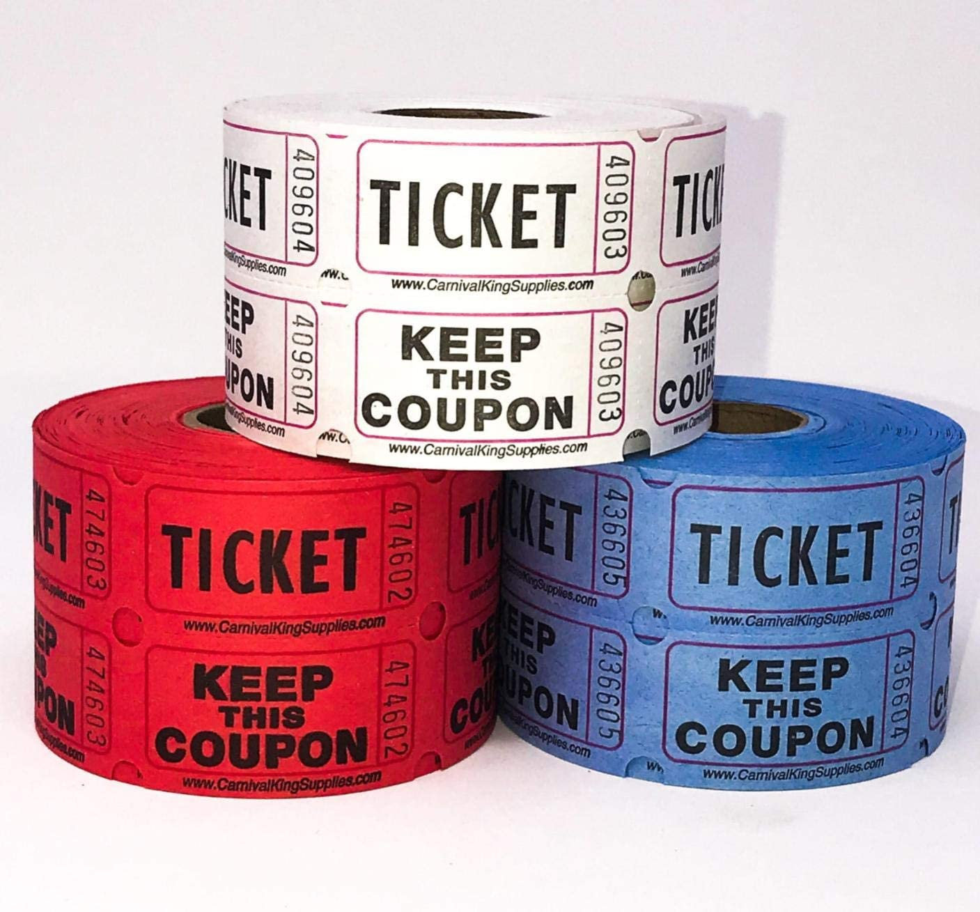 1200 Raffle Tickets 4th of July Party Double Roll 50 50 Style Red White Blue Assorted Colors Prize Tickets