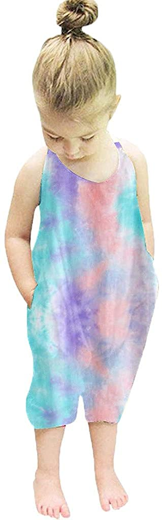 Baby Girls Sleeveless Rainbow Tie Dyed Romper Jumpsuit Clothes 1-6 Years
