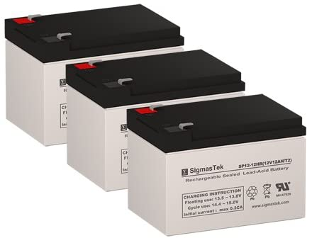 E-Road Electric Scooter Replacement Batteries - 3X 12 Volt 12AH Batteries by SigmasTek