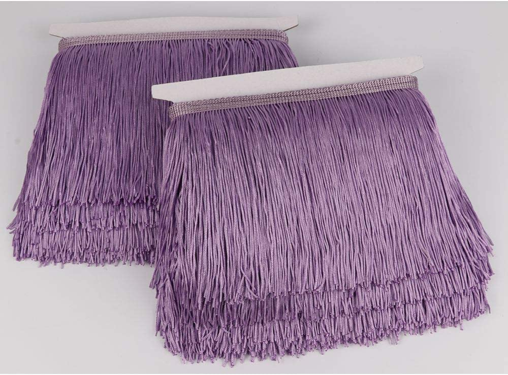 Heartwish268 Fringe Trim Lace Polyerter Fibre Tassel 6inch Wide 10 Yards Long for Clothes Accessories Latin Wedding Dress DIY Lamp Shade Decoration Black White Red(Light Purple)