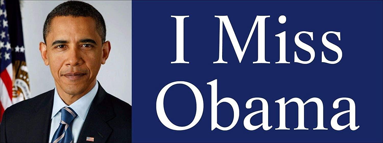 Magnet 3x8 inch I Miss Obama Bumper Sticker - Clinton Anti Trump pro President Barack Magnetic Magnet Vinyl Sticker