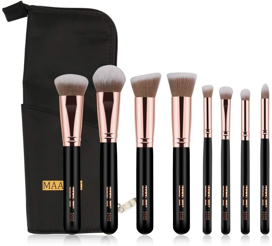 8Pcs Professional Foundation Liquid Eye Shadow Eyebrow Blush Makeup Brush Set + Handbag Shipped in The US, Arrived Quickly