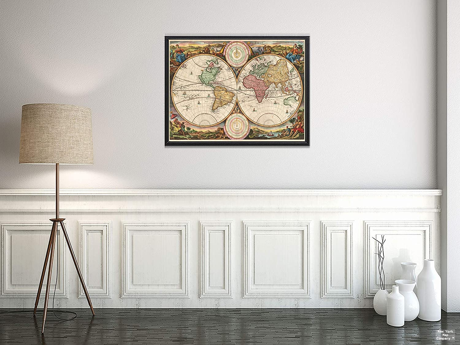 1730 Stoopendaal of The World in Two Hemispheres Map|Vintage Fine Art Reproduction|Size: 18x24|Ready to Frame