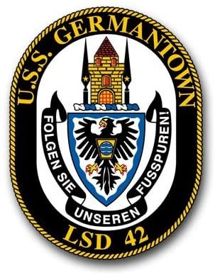 US Navy U.S.S. Germantown LSD-42 Military Veteran Served Window Bumper Sticker Vinyl Decal 3.8