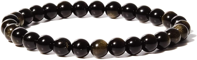 YUGDRUZY Beads Bracelet, 6mm Crystal Bracelet Natural Stone Round Gemstone Bracelet Elastic Healing Bracelet Yoga Stretch Bracelet for Women Men Girl Semi-Precious Agate Stone