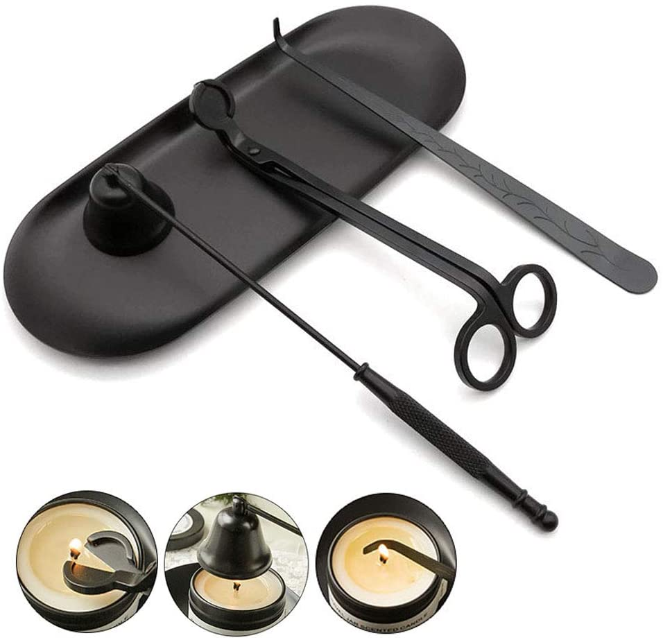 YONUFI Candle Accessory Set 4 in 1 - Candle Snuffer, Wick Trimmer, Wick Dipper and Plate Tray (Black)