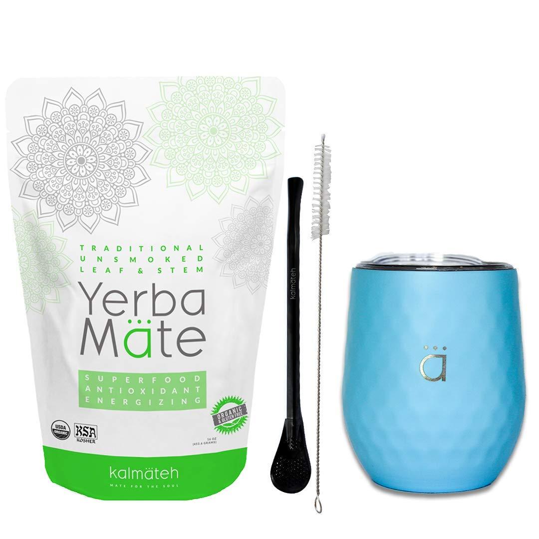 Kalmateh Yerba Mate Starter Set– Modern 8 oz Double Walled Stainless Steel Mate Cup with BPA Free Lid, Bombilla/Bombilla Cleaner & Organic Unsmoked Yerba Mate (1lb) (Pastel Blue)