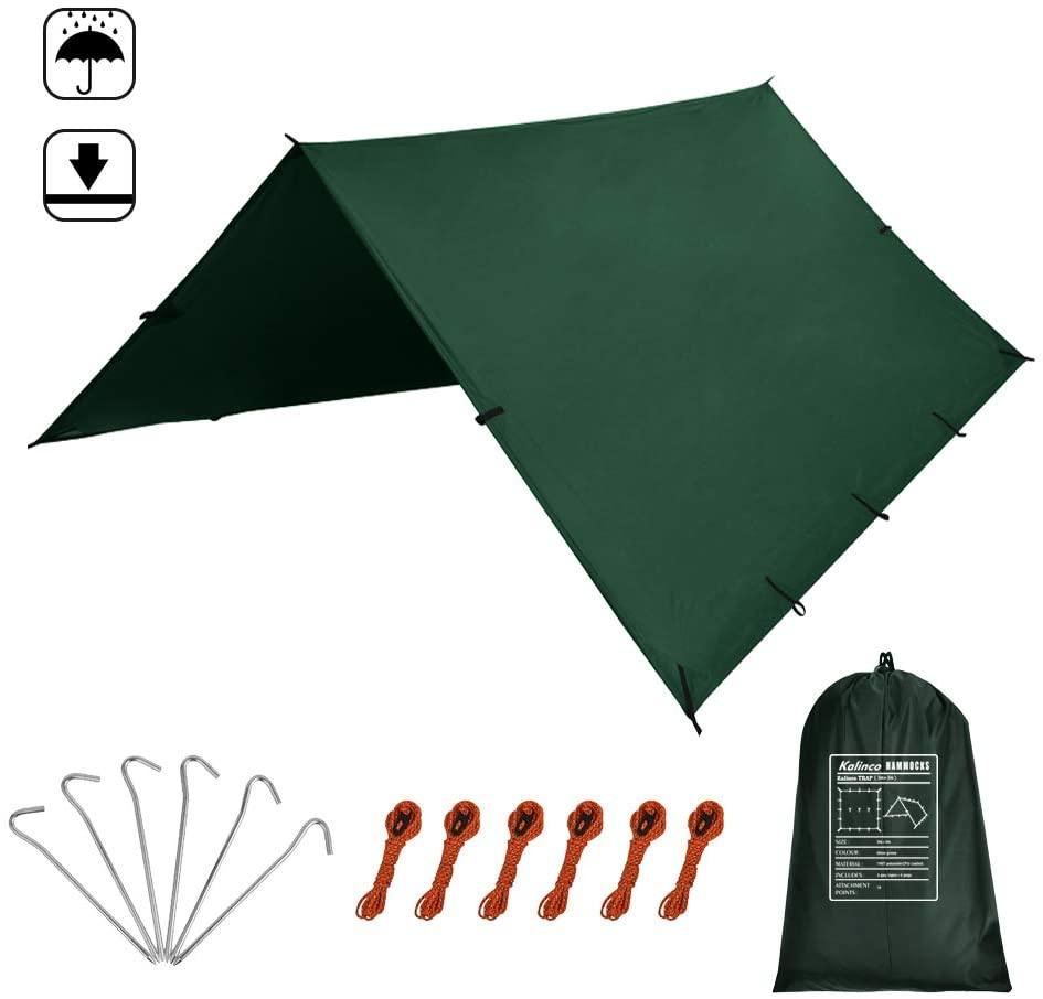 KALINCO 10X10FT/10X15FT,Tent Tarp,Picnic Mat Camping Tarp Tent Hammock Tarp, pu Waterproof Camping tarp Tent Rain Fly Picnic Mat Survival Shelter Sunshade(Green)