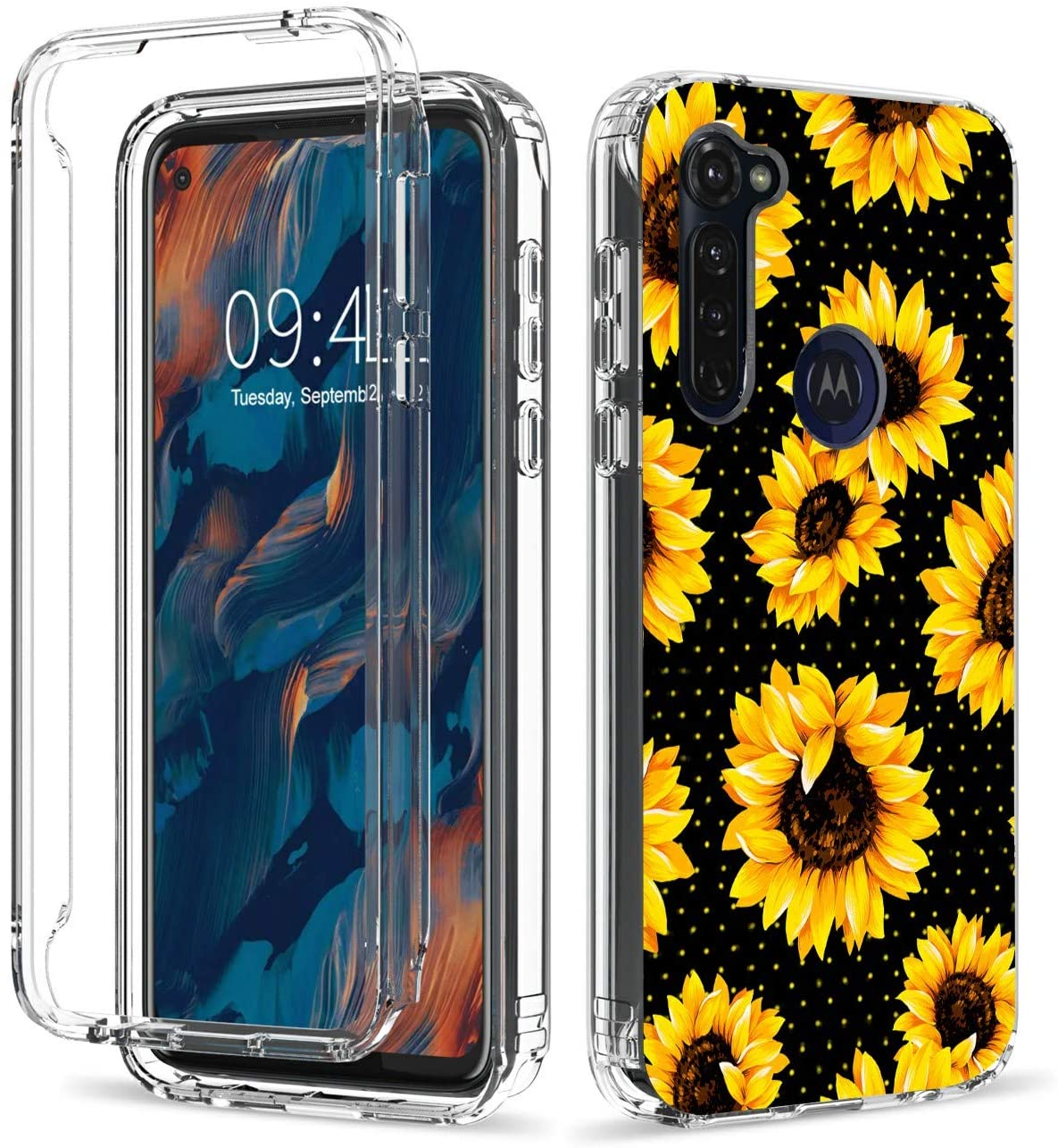 Case for Motorola Moto G Stylus 2020, Rossy Clear with Pattern Design Full Body Shockproof Dual Layer Protective Soft TPU Bumper Phone Case - Vintage Flower Floral Cute Yellow Sunflowers
