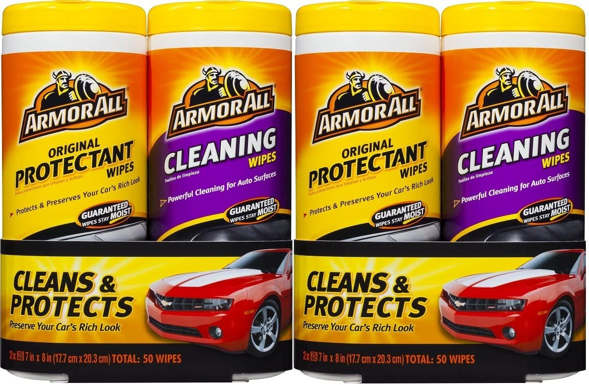 Armor All 10848 Protectant and Cleaning Wipe - 25 Sheets, (Pack of 4)