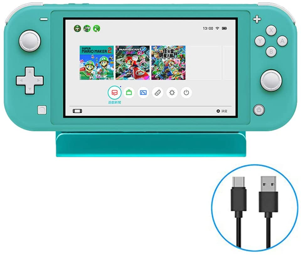 KenSera Game Console Charger Charging Dock Station Portable Charger Stand with Type-C Charging Cable Compatible with Nintendo Switch/Switch lite Console (Turquoise)