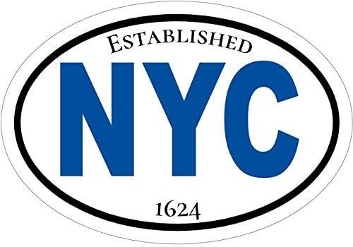 WickedGoodz Oval Blue New York City Vinyl Decal - NYC Bumper Sticker - City State Souvenir Gift