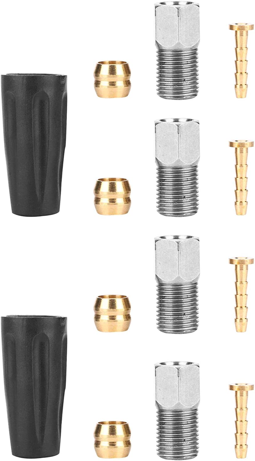 VGEBY Olive Connector Insert Set, Bike Hydraulic Cable Hose Set Bicycle Replacement Part with Oil Needles, Olive Head, Screws, Dust Covers