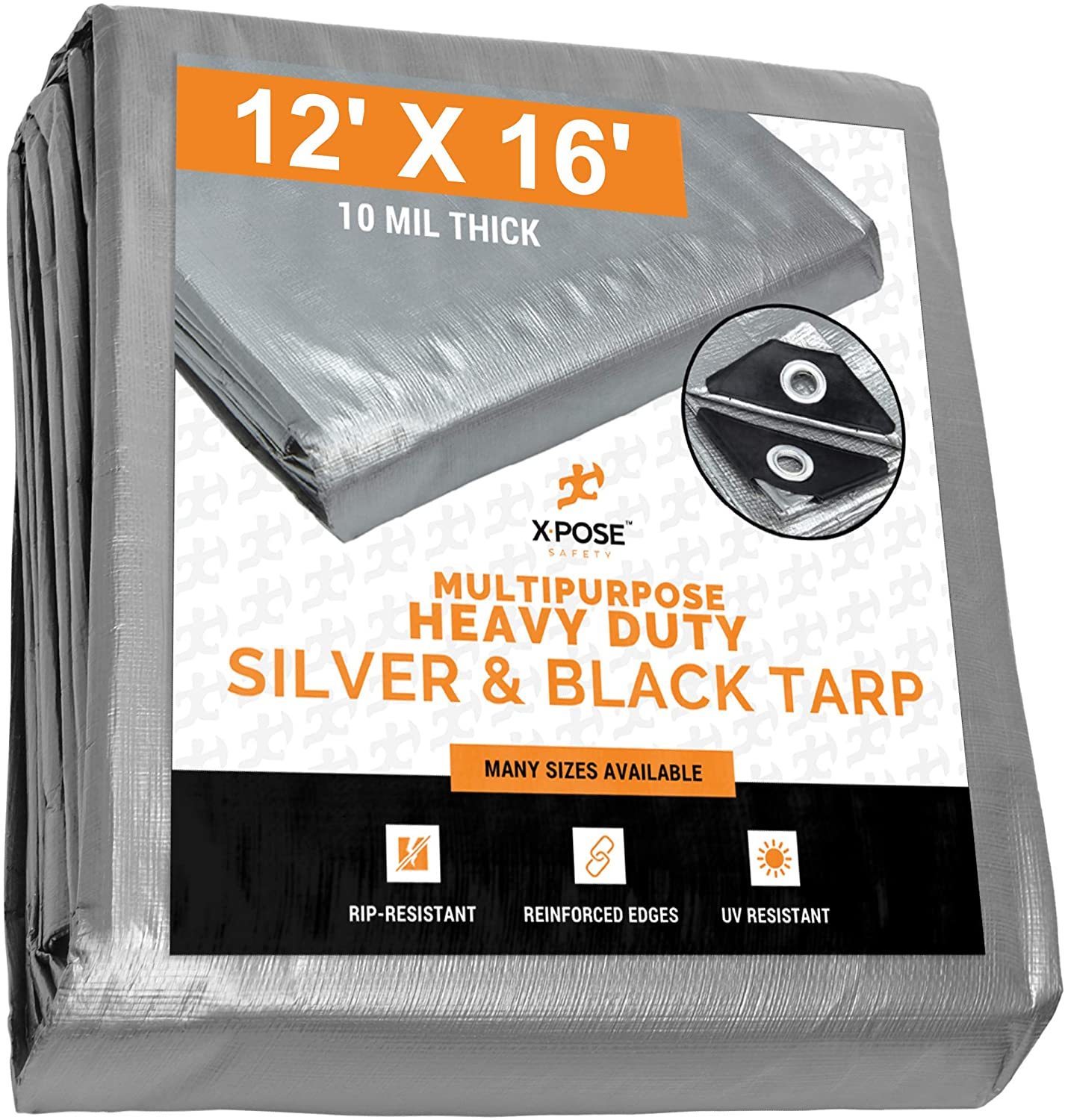 Heavy Duty Poly Tarp - 12' x 16' - 10 Mil Thick Waterproof, UV Blocking Protective Cover - Reversible Silver and Black - Laminated Coating - Rustproof Grommets - by Xpose Safety