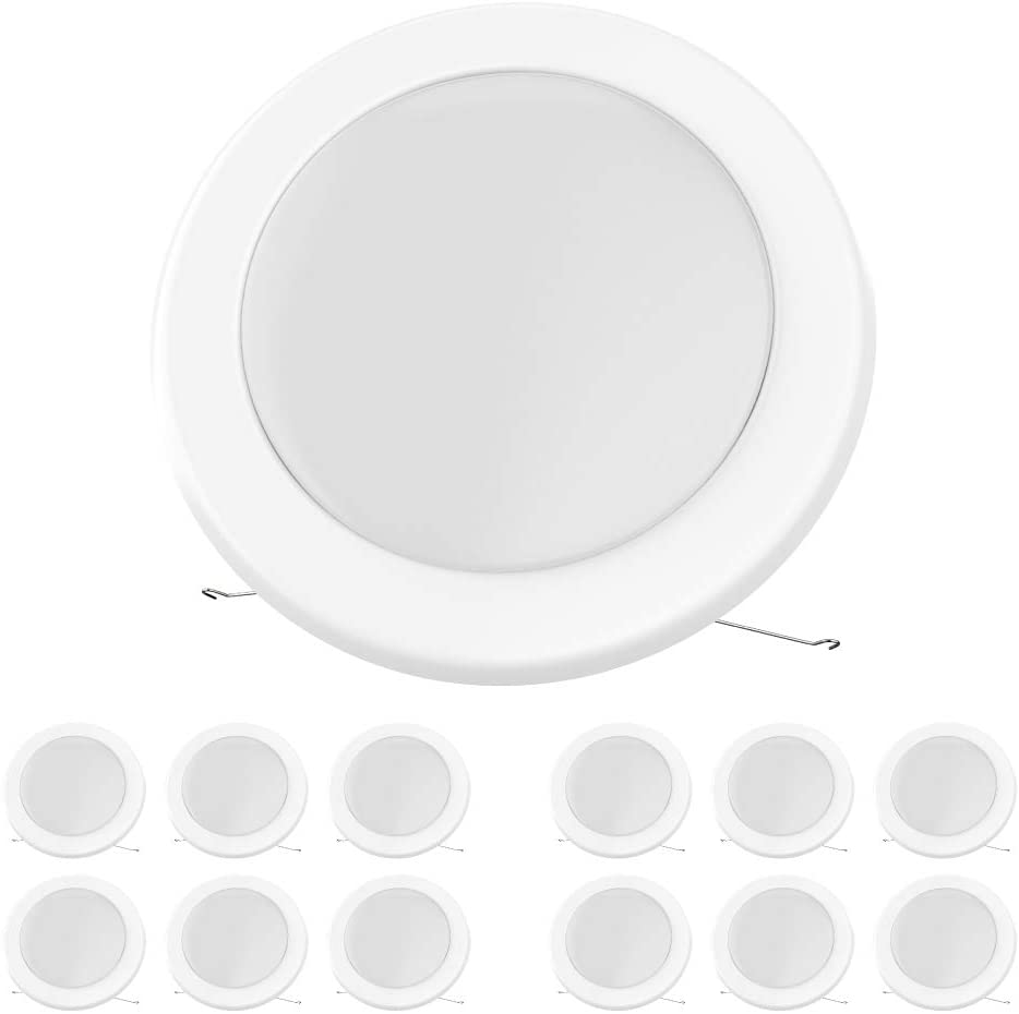 12-Pack LEDMyplace 5/6-inch Dimmable LED Disk Light Flush Mount Ceiling Fixture, Beam Angle - 120°, 15W (120W Replacement), 5000K, Energy Star, 5-Year Warranty