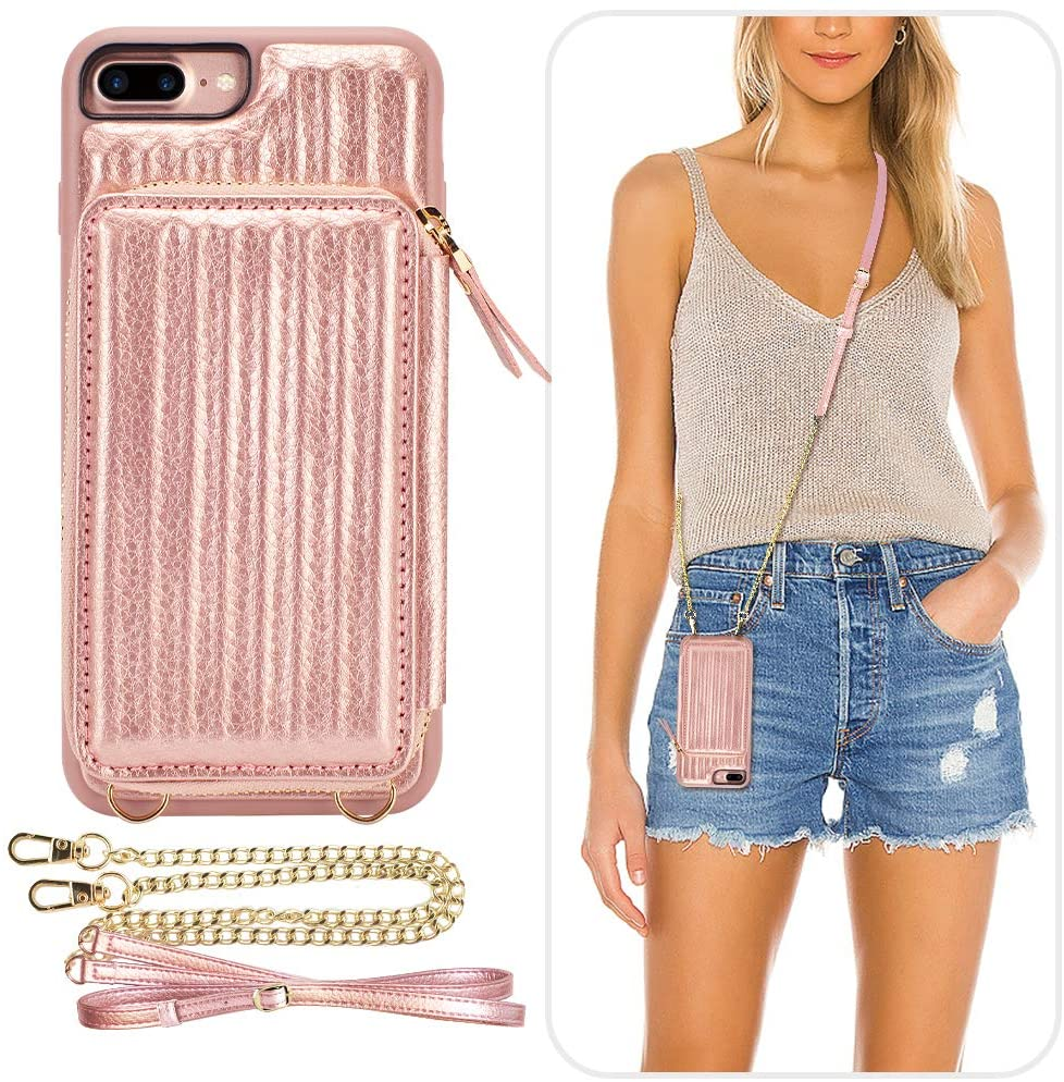 iPhone 7 Plus Wallet Case, iPhone 8 Plus Crossbody Case, ZVEdeng iPhone 8 Plus Zipper Wallet Case with Card Holder Leather Trunk Box Case for iPhone 7 Plus/8Plus 5.5inch-Rose Gold