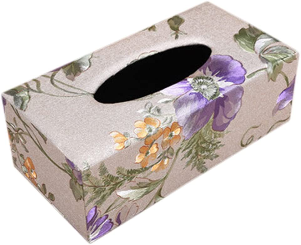 Kylin Express Stylish Tissue Box Rectangle Automobile/Home Tissue Holder Floral Purple