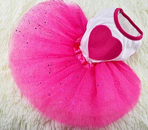 Idepet(TM Spring Summer Pet Dog Cat Puppy Tutu Princess Dress Heart Printed Lace Skirt Clothes Pet Apparel