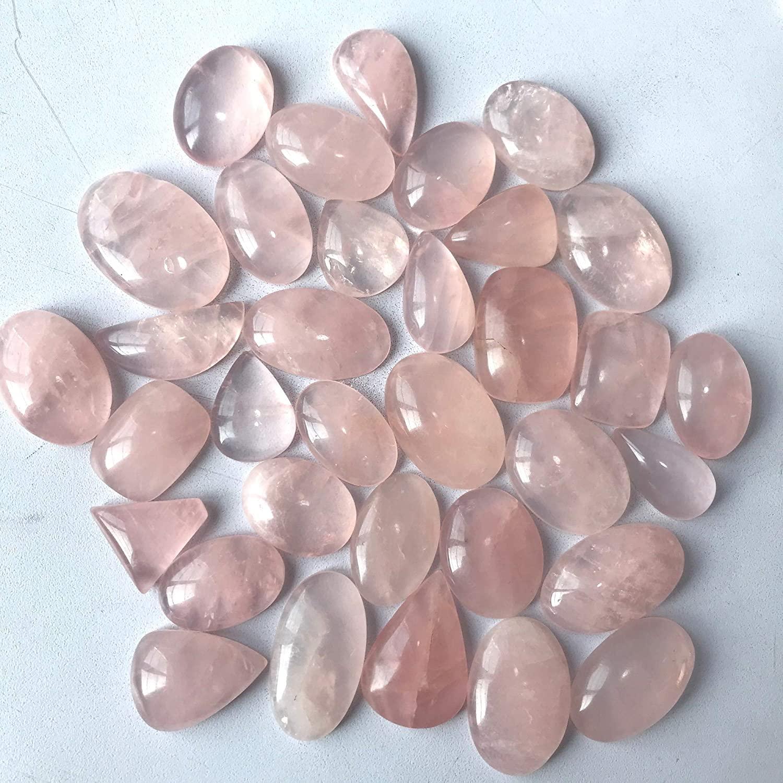 Gemkora 100% Natural Rose Quartz Gemstones Wholesale Cabochons Lot, Jewelry Making Loose Gemstone, Polished Gems, DIY, Wire Wrapping, Healing Crystals, Bulk Gemstone Deal, Pink Quartz (100 carats)