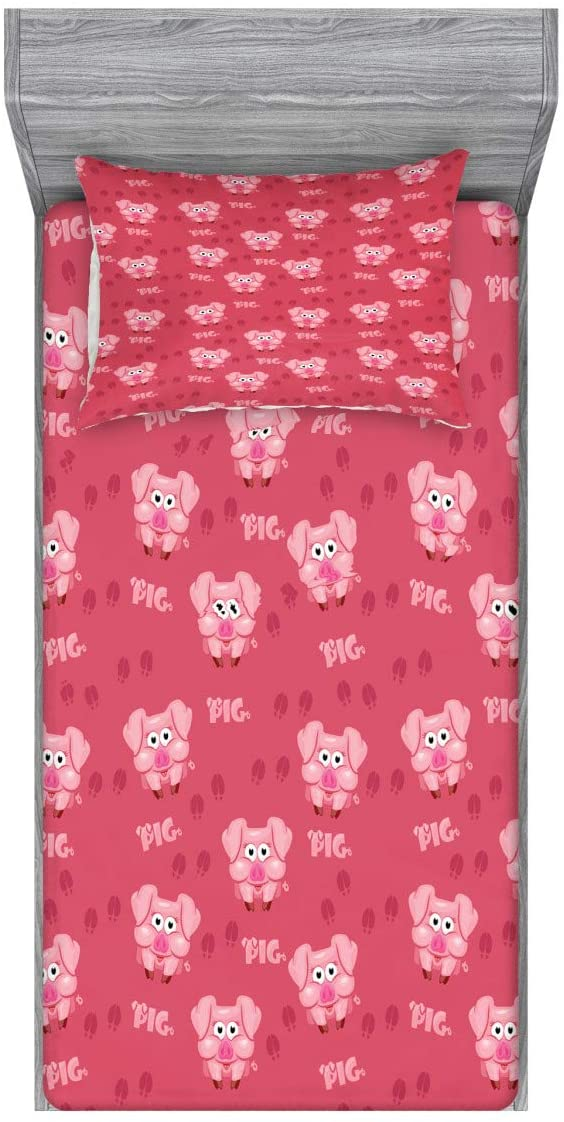Lunarable Pig Fitted Sheet & Pillow Sham Set, Square Cartoon Pig Hog Cheering Greeting Running Towards Humor Artwork Print, Decorative Printed 2 Piece Bedding Decor Set, Twin, Pale Pink
