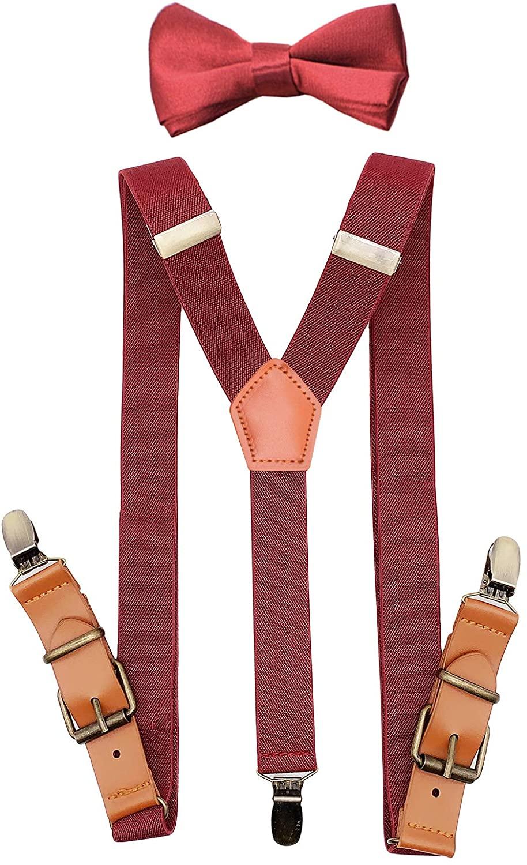 JTCMOJS Suspenders Bow Tie Set for Kids Boys Tuxedo Braces Leather Bronze Clips