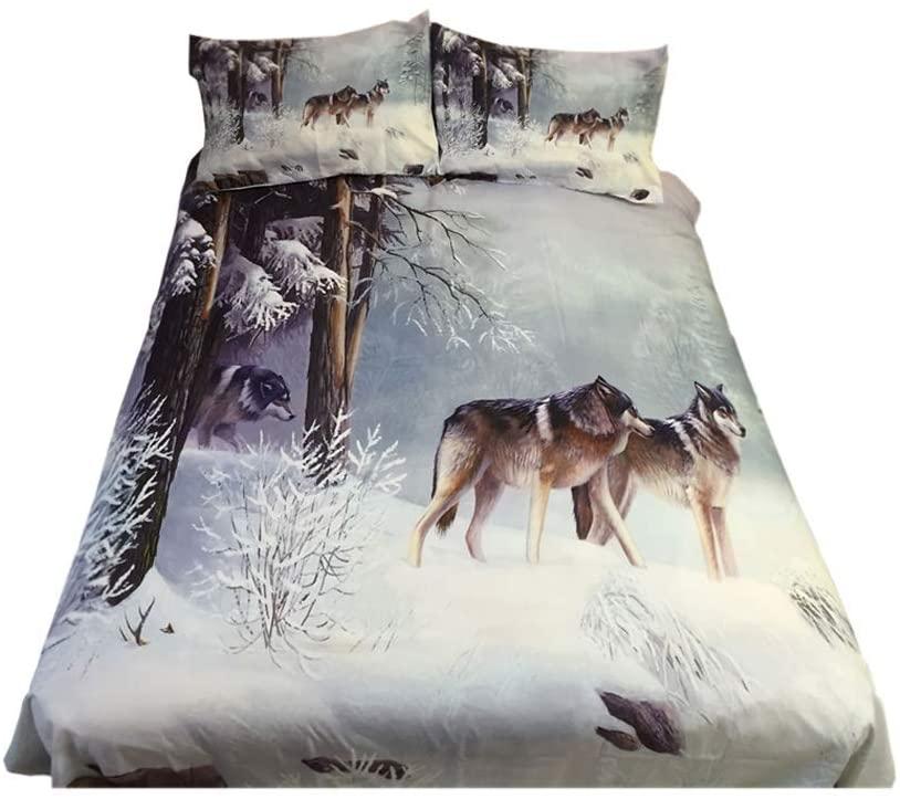 926 Wolf Print 100% Microfiber 3D Bedding Sets King Size, Microfiber Wolf Comforter Cover/Duvet Cover Sets King Size 3-Piece Bedding Sets (Queen, Wolf)