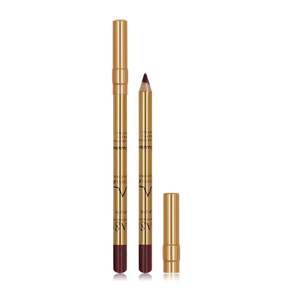 Lip Liner Pencil - Lipliner Pencil, Gold Tube Lip Liner Contour Pen, Lip Makeup, 6 Colors (Color : #8)