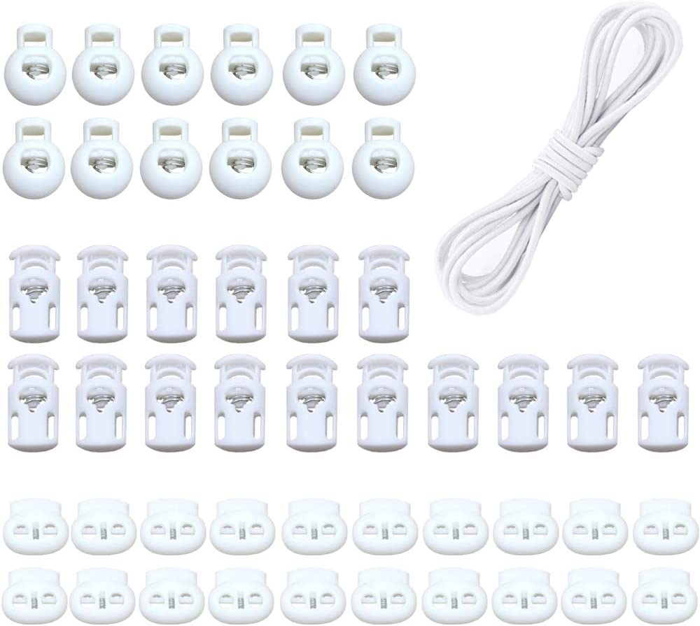 Ceqiny 60pcs Plastic Spring Buckle Push Cord Stoppers Plastic Toggle Single Hole Double-Hole String Cord Locks with 20m Elastic Bands for Camping Hiking Shoelace Replacement Sports Backpacks, White