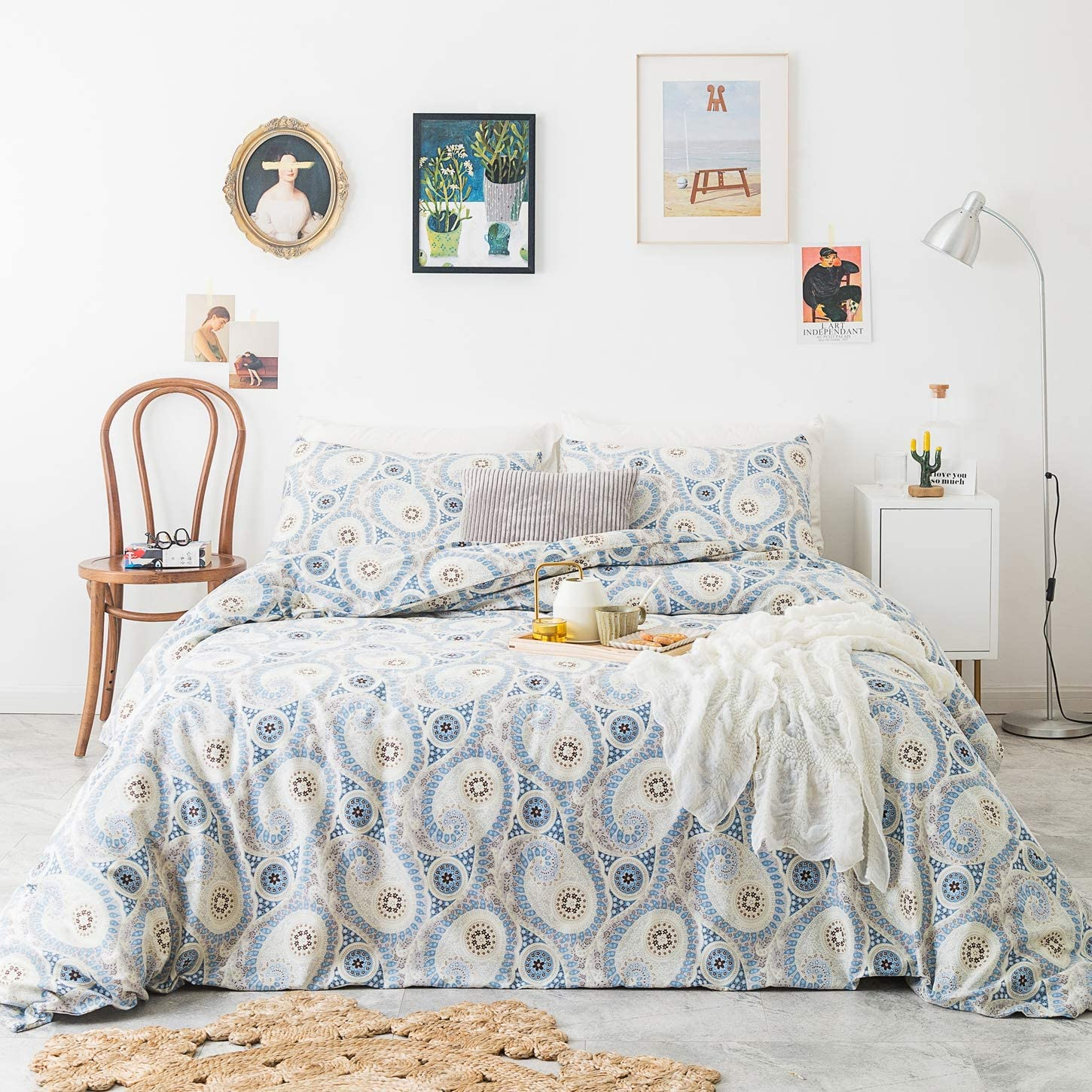 SUSYBAO 3 Pieces Duvet Cover Set 100% Natural Cotton Blue King Size Paisley Geometric Bedding Set 1 Exotic Bohemian Duvet Cover with Zipper Ties 2 Pillow Cases Luxury Quality Soft Comfortable Durable